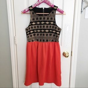 THML Dresses - THML Aztec Print Orange Skirt Dress, Medium!